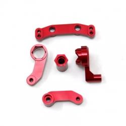 STRC CNC Machined Aluminum Steering bellcrank set for SC10/T4/B4 (Red)