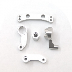 STRC CNC Machined Aluminum Steering bellcrank set for SC10/T4/B4 (Silver)