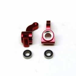 CNC Machined Alum. Front Steering Knuckle w/larger 5x11mm outer bearing (Red) 1 pair