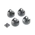 STRC CNC Machined Alum. Upper Shock Caps (4pcs) DEX210/ST/SC (Gun Metal)