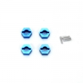 STRC CNC Machined Alum. Hex Adapters with drive pins (4 pcs) for SC10 4x4 (Blue)