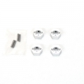 STRC CNC Machined Alum. Hex Adapters with drive pins (4 pcs) for SC10 4x4 (Silver)
