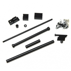 CNC Machined Aluminum Off-Axle Servo Mount/Panhard + STA30516 Steering Combo Kit for SCX10 (Black)
