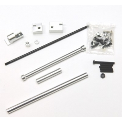 CNC Machined Aluminum Off-Axle Servo Mount/Panhard + STA30516 Steering Combo Kit for SCX10 (Silver)