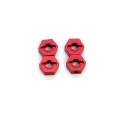 STRC CNC Machined Aluminum 12mm Hex Adapter (4 pcs) Red