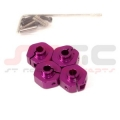 HPI Wheely King 14mm Aluminum Machined Hex adapter set (Purple)