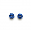 STRC CNC Machined Aluminum 12mm rear lock-pin style hex adapter for SC10 (Blue)