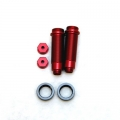 CNC Machined Threaded Aluminum Rear Shock Set 1 pair (w/lower caps, O-Ring Collars) for Blitz, E-Firestorm. (Red, web only limited edition)