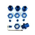 STRC CNC Machined Aluminum 17mm hex adatpers for Slash 4x4/Stampede 4x4/Rally (Blue)