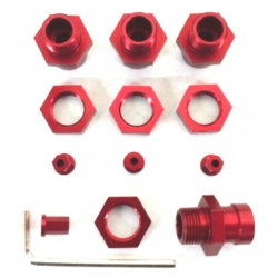 STRC CNC Machined Aluminum 17mm hex adatpers for Slash 4x4/Stampede 4x4/Rally (Red)