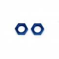 CNC Machined Alum. 17mm Hex adapter lock-nut (1 pair) Blue