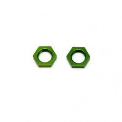 CNC Machined Alum. 17mm Hex adapter lock-nut (1 pair) Green