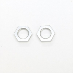 CNC Machined Alum. 17mm Hex adapter lock-nut (1 pair) Silver
