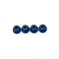 Light Weight Anodized Aluminum M4 Flanged lock-nuts (4 pcs) Blue