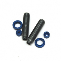 CNC Machined Aluminum Threaded Shock Bodies, Lower Caps and Spring Collar (1 pair) Ascender, GM-Blue