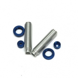 CNC Machined Aluminum Threaded Shock Bodies, Lower Caps and Spring Collar (1 pair) Ascender, Silver-Blue