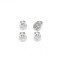 CNC Machined Aluminum Upper Shock Caps (4pcs) for Vaterra Ascender, silver
