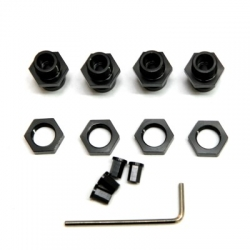 CNC Machined Aluminum 17mm Hex Adapter Kit for Axial Wraith, AX10 Deadbolt (1 set, 4 pcs) Black