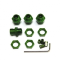 CNC Machined Aluminum 17mm Hex Adapter Kit for Axial Wraith, AX10 Deadbolt (1 set, 4 pcs) Green