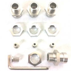 CNC Machined Aluminum 17mm Hex Adapter Kit for Axial Wraith, AX10 Deadbolt (1 set, 4 pcs) Silver