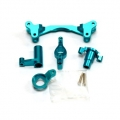 CNC Machined Aluminum Steering Bellcrank set (5 pcs) Yeti, Blue