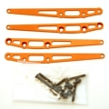 CNC Machined Alum. Lower Suspension Link Reinforcement plate (4 pcs w/hardware) Orange (Limited)