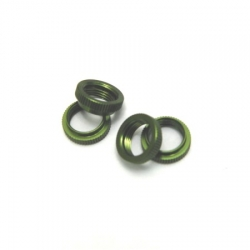 CNC Machined Aluminum Shock Collar (w/O-rings) 4 pcs for Wraith, Yeti, EXO (Green)