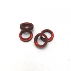 CNC Machined Aluminum Shock Collar (w/O-rings) 4 pcs for Wraith, Yeti, EXO (Red)