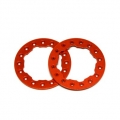 "CNC Machined Aluminum Beadlock Rings for Proline Faultline/Denali 2.2"" wheels (1 pair) Orange"