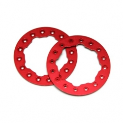 "CNC Machined Aluminum Beadlock Rings for Proline Faultline/Denali 1.9"" wheels (1 pair) Red"